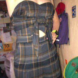 Strapless plaid jumpsuit!